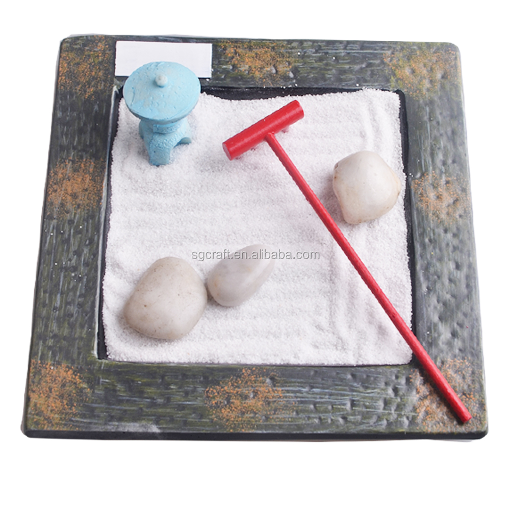 Polyresin Material Mini Zen Garden With Pavilion Rock Sand Rake Rock For Home Decoration