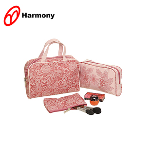 3 pcs beauty printing lady's travel cosmetic makeup set