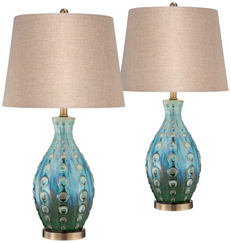 Mid-Century Teal Ceramic Vase Table Lamp Set of 2