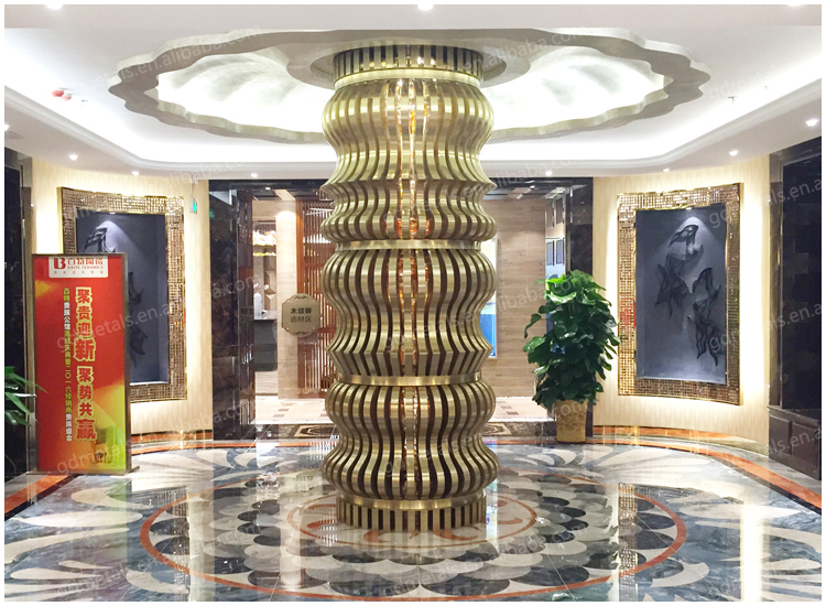 Customized gold interior decor stainless steel decorative metal columns