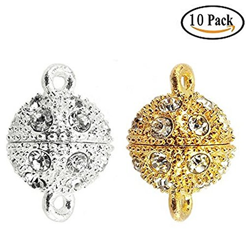 IDS 10x Crystal Rhinestone Pave Magnetic Beads Clasp Bracelet Necklace Jewelry,12 mm,Silver/Gold