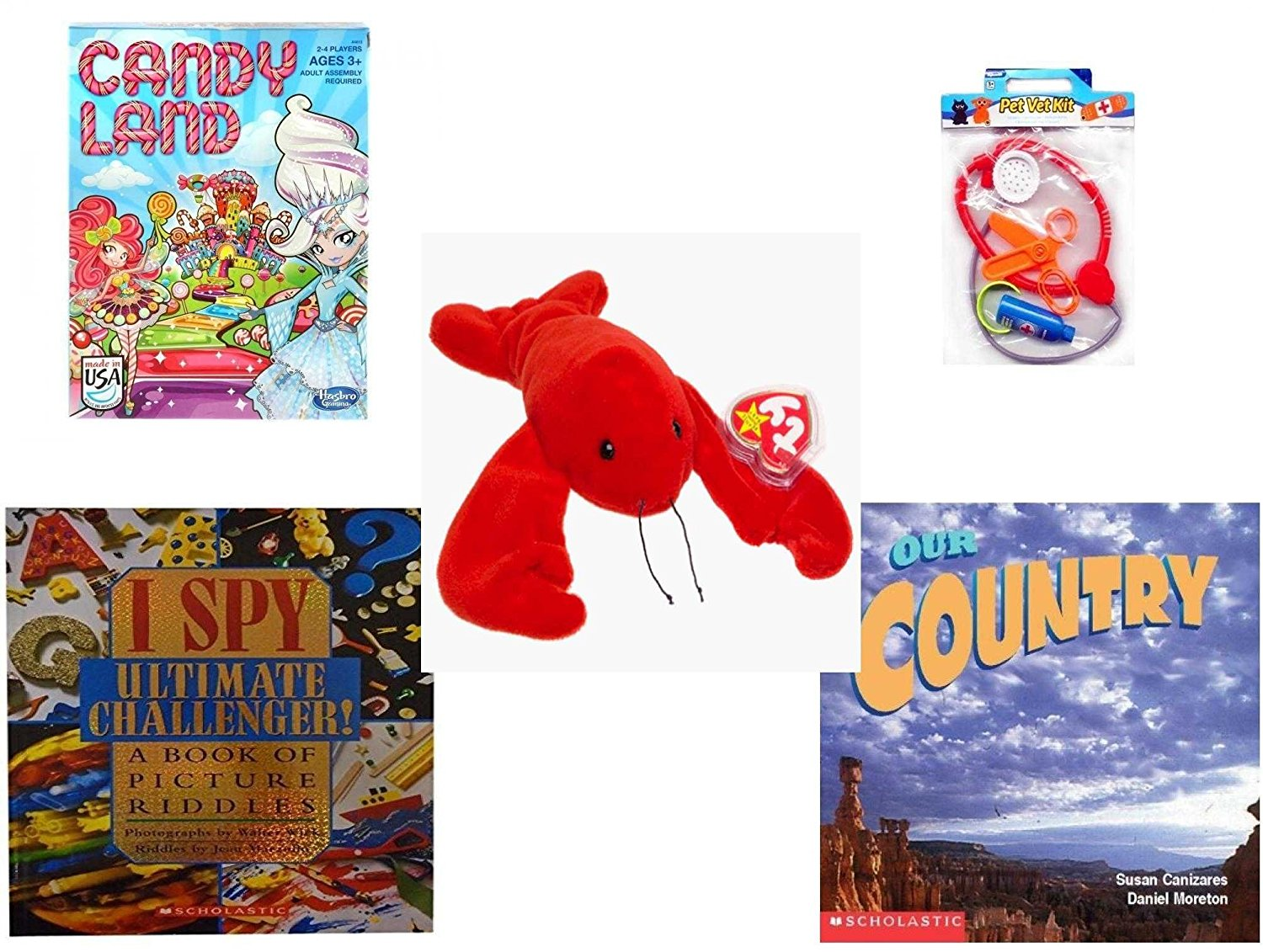 Children's Gift Bundle - Ages 3-5 [5 Piece] - Candy Land Game - Pet Vet Kit Veterinarian 4pc Set Toy - Ty Beanie Baby - Pinchers the Lobster - I Spy Ultimate Challenger: A Book of Picture Riddles Ha