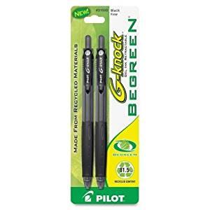 31500 Pilot BeGreen G-Knock Gel Ink Pen - Fine Pen Point Type - 0.7 mm Pen Point Size - Black Ink - 2 / Pack
