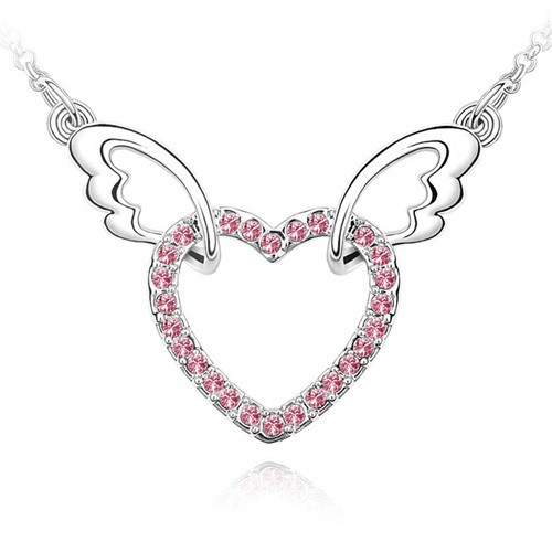 Best Gifts Top Selling Vintage Jewelry Rhinestone Connected Heart Angel Wing Necklace, Ebay USA Jewelry Fashion