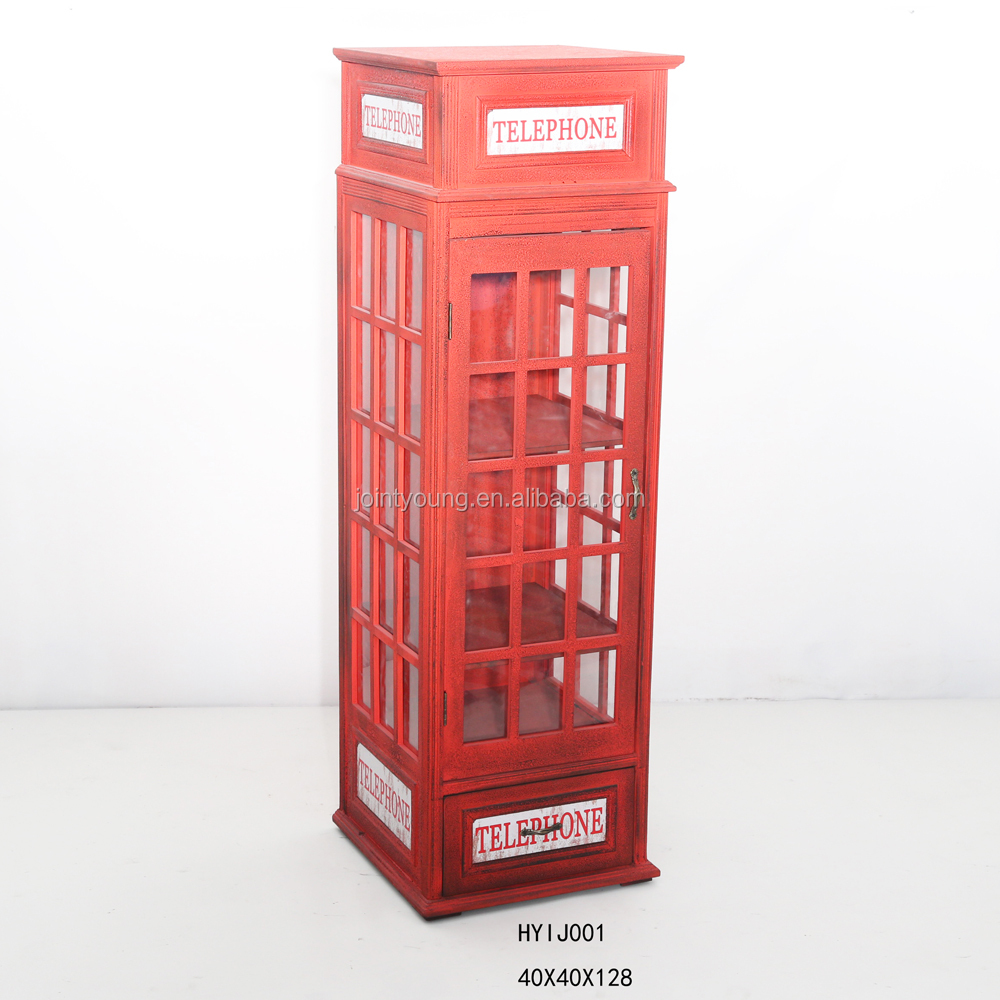 Antique Red London Telephone Booth Cabinet