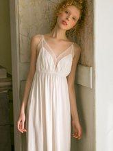 Женская ночная рубашка без рукавов, белая кружевная ночная рубашка из хлопка с v-образным вырезом(Китай)