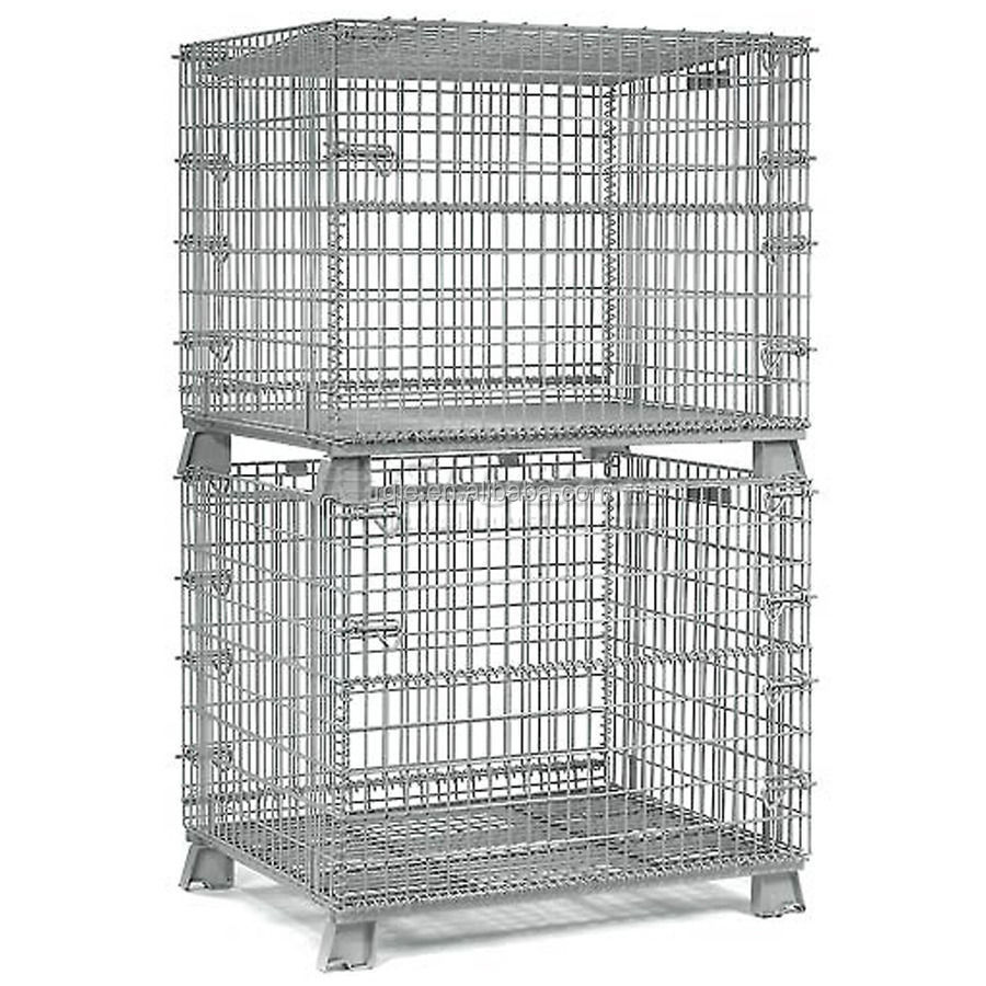Heavy duty collapsible stackable metal storage wire mesh pallet cage