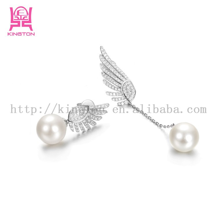 2015 Luxury 925 sterling silver cz beads earrings with freshwater pearl ,hanging angel wings earring
