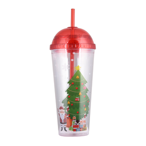 Christmas Cups 600ml Coffee Mug Plastic Cups with Dome Lid FDA Food Wholesale Sippy Cup