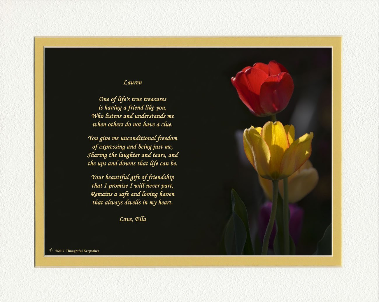 Get Quotations Personalized Friend Gift Tulips Photo With This Beautiful Friendship Poem 8x10 Double Matted