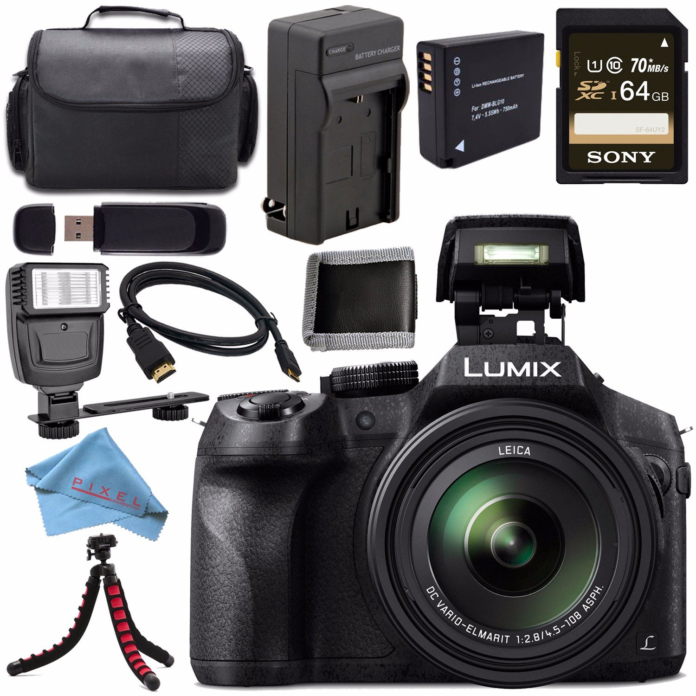Panasonic Lumix DMC-FZ300 DMC-FZ300K Digital Camera + DMW-BLC12 Lithium Ion Battery + Charger + Sony 64GB SDXC Card + Case + Tripod + Micro HDMI Cable + Memory Card Wallet + Flash Bundle