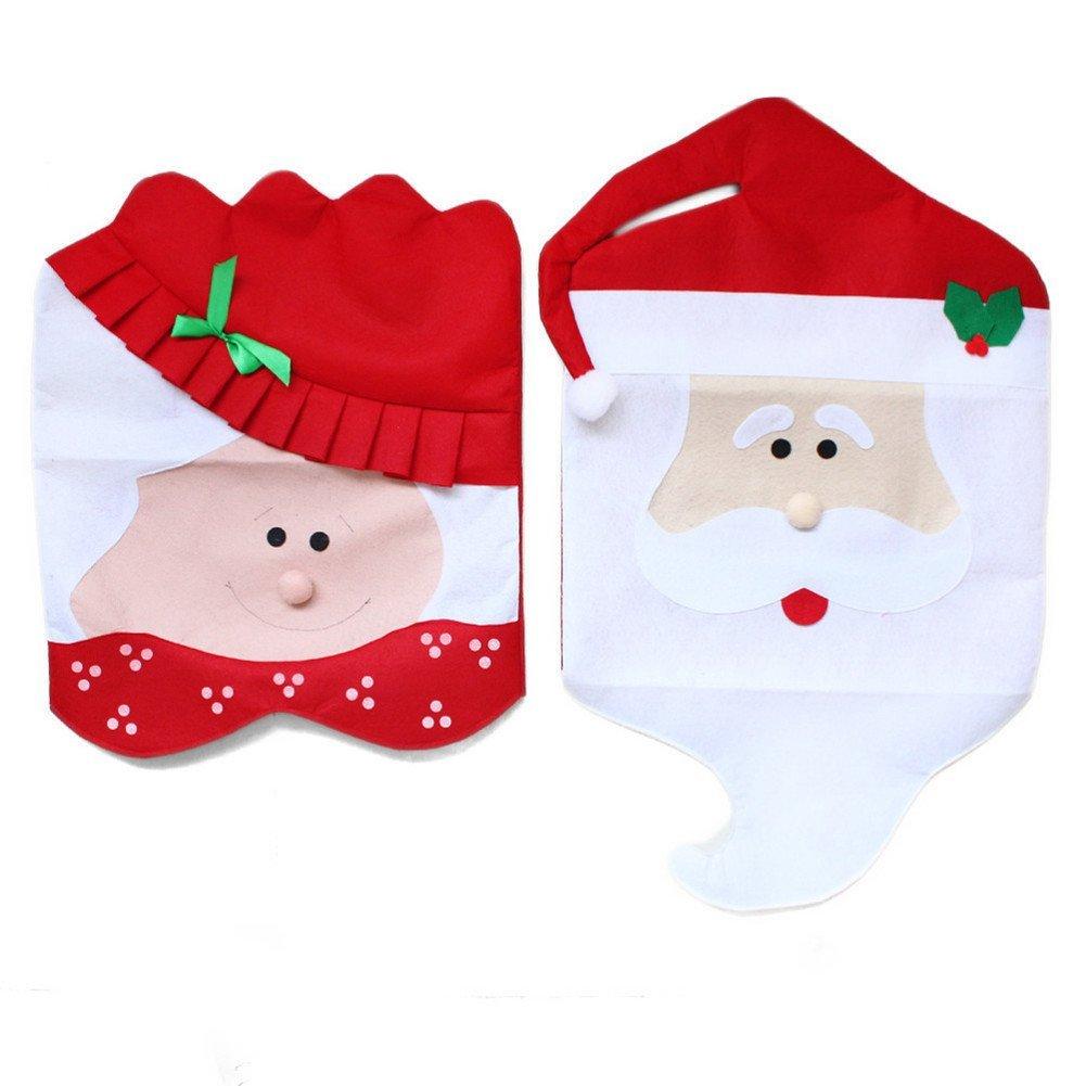 Yedays Santa Hat Christmas Chair Covers Decor Slipcovers Decoration Christmas Party Festive (Mr & Mrs)