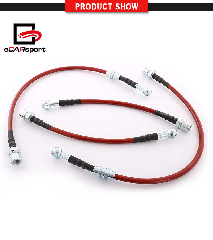 88-92 Corolla AE98 Front /& Rear Braided Hose Oil Brake Line Kit Cable Red//Black