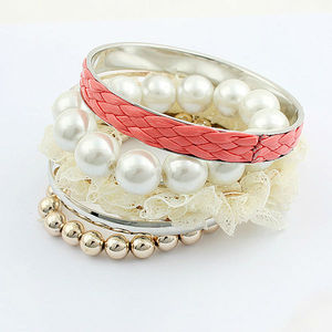 White silk ribbon for bracelet elegant colorful bead bracelet red leather silver alloy big pearl bangles PB1961