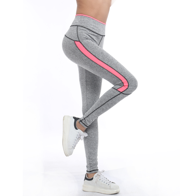 29f2dcb69237b 2016 Women Lady running sport pant Fitness Legging light grey pink spring  gym activewear legging 1208 American Original Order