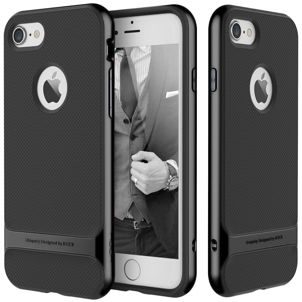 iPhone 7 Case, ROCK [Royce] - Jet Black [Ultra Thin][Heavy Duty][Metal Texture Side Buttons][Dual Layered][Slim Fit][Hard PC + Soft TPU] For Apple iPhone 7 (2016)