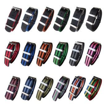 NEWLY 18mm 20mm 22mm 24mm Premium Seat Belt Nato Nylon Watch Strap for Men Women with Heavy Buckle