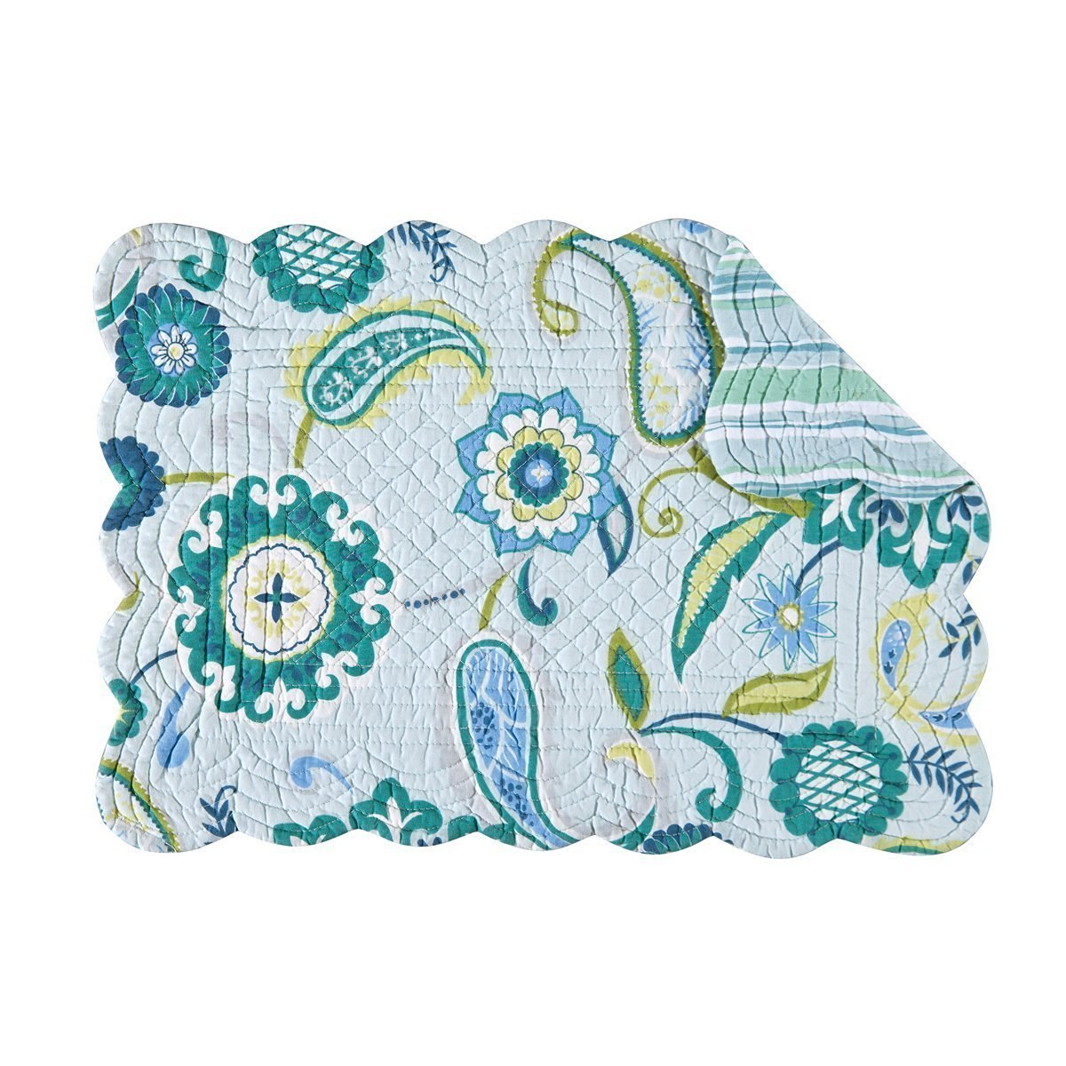 """Set of 4 Pcs, 13x19"""" Quilted Scallop Edge Placemat, Alena"""