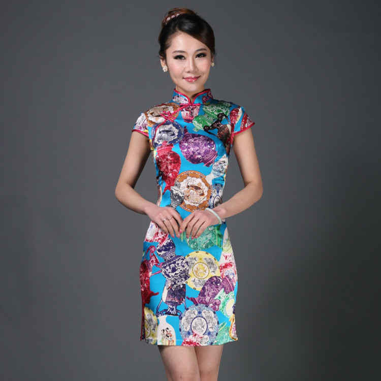 Retail 100% Silk Slim Improve China Short Qipao Dress