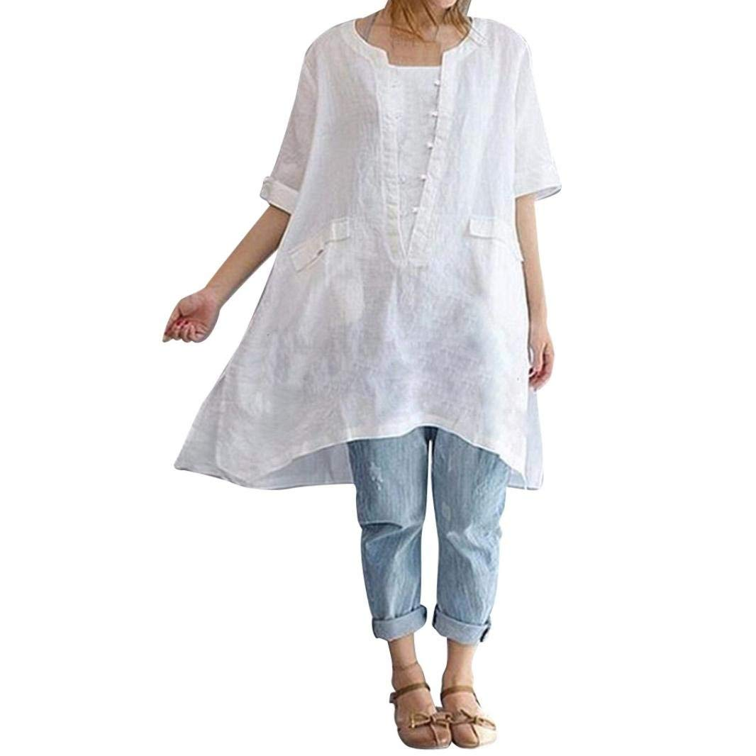 WuyiMC Womens Tops Clearance, Ladies Plus Size Irregular Fashion Loose Linen Short Sleeved Shirt Vintage Blouse