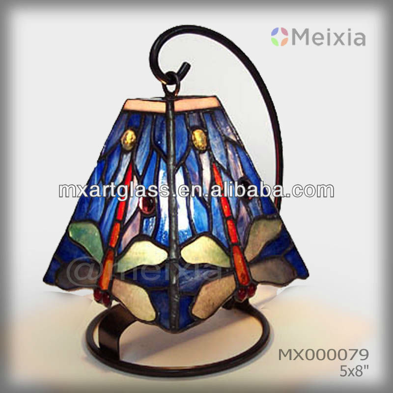 MX000079 china wholesale tiffany style stained glass dragonfly luxury small desk lamp