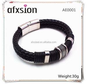AFXSION Jewelry 2017Custom Men's Black Braided Stainless Steel Genuine Leather Magnetic buckle Bracelet