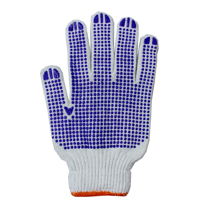 High quality wholesale custom white cotton cheap work gloves bule PVC dotted corrugated safety glove garden gloves