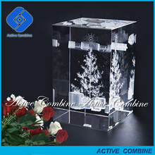 Manufacturer Home Decor Customized Designs Crafts Merry Christmas crystal 3d laser engraved
