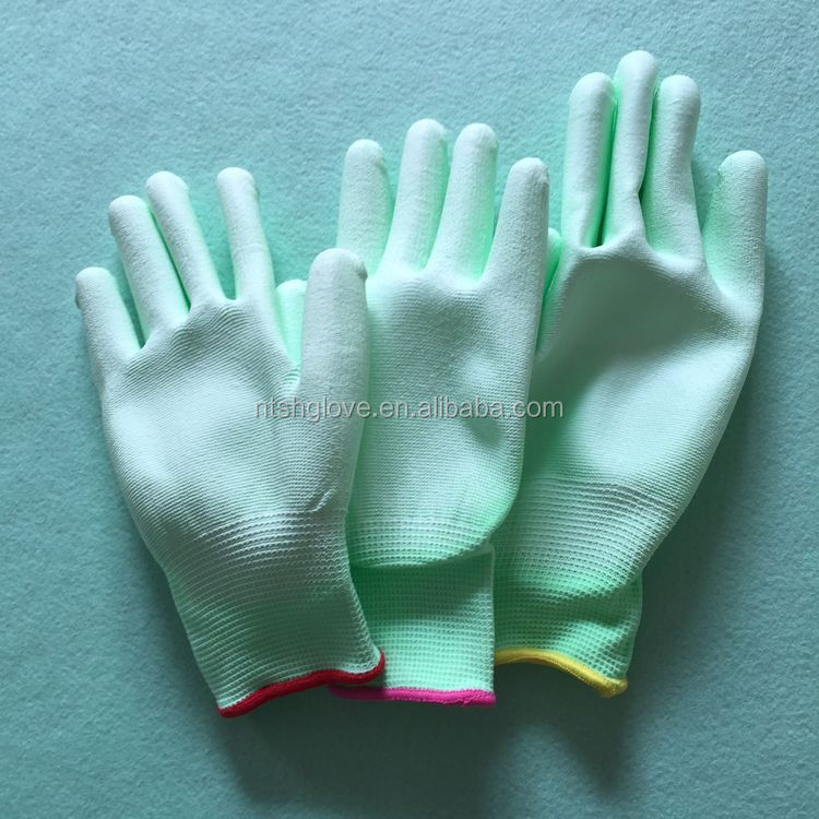 Best sell Finger Tip polyester pu palm coated gloves