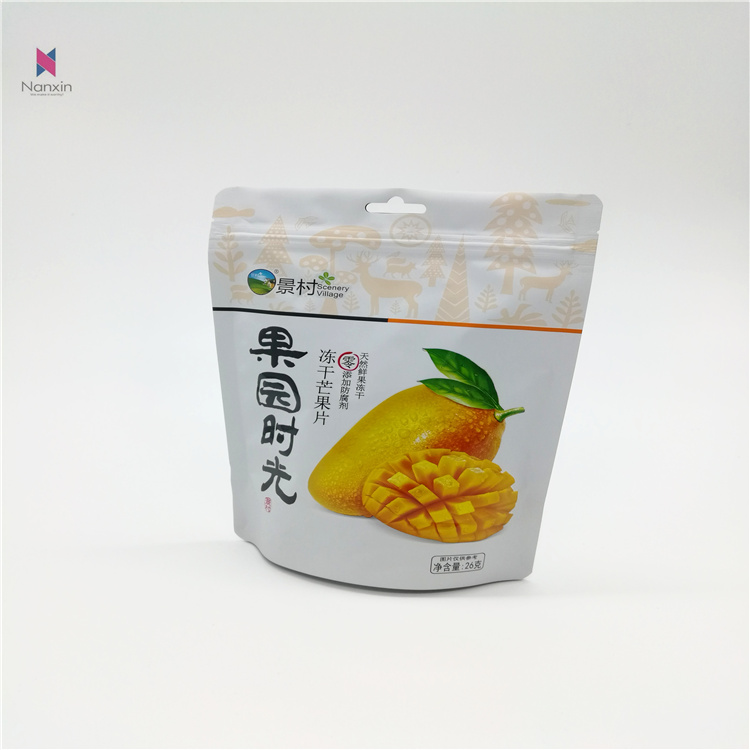 zippered stand-up pouch bag for frozen dried apple slice food packaging and printing bag