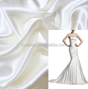 100% tela de satén de poliéster/de tela de raso blanco de novia de