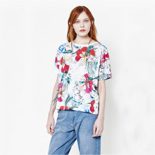 Economical Round neck full flower with pattern t shirt custom print