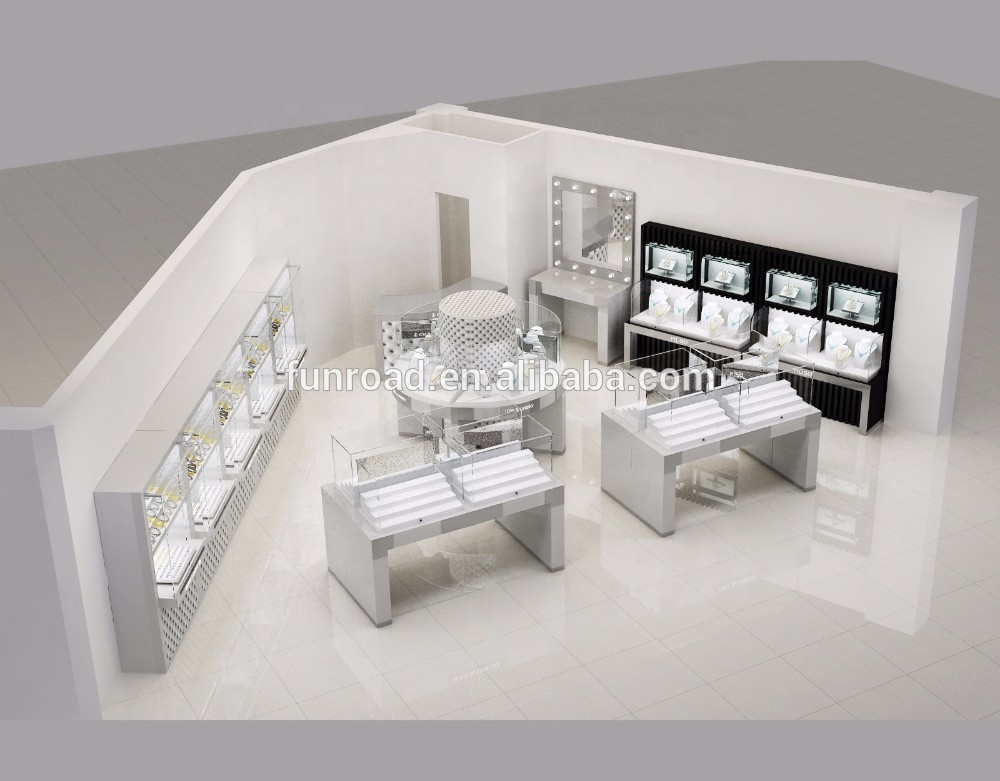 Shopping mall store silver jewelry kiosk design
