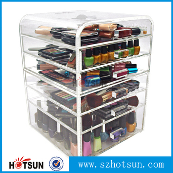 wholesale cheap acrylic makeup organizer with drawers/makeup organizer box/make  up organizer