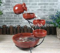 Red Ceramic Outdoor Cascade Solar Water Features