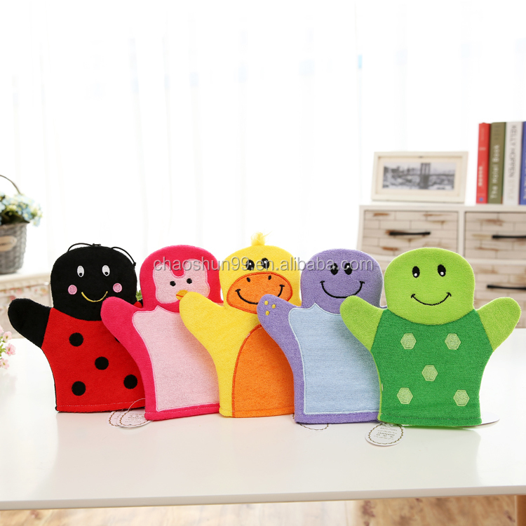 New lovely anima wholesale children's baby terry towel Bathing bath mitts