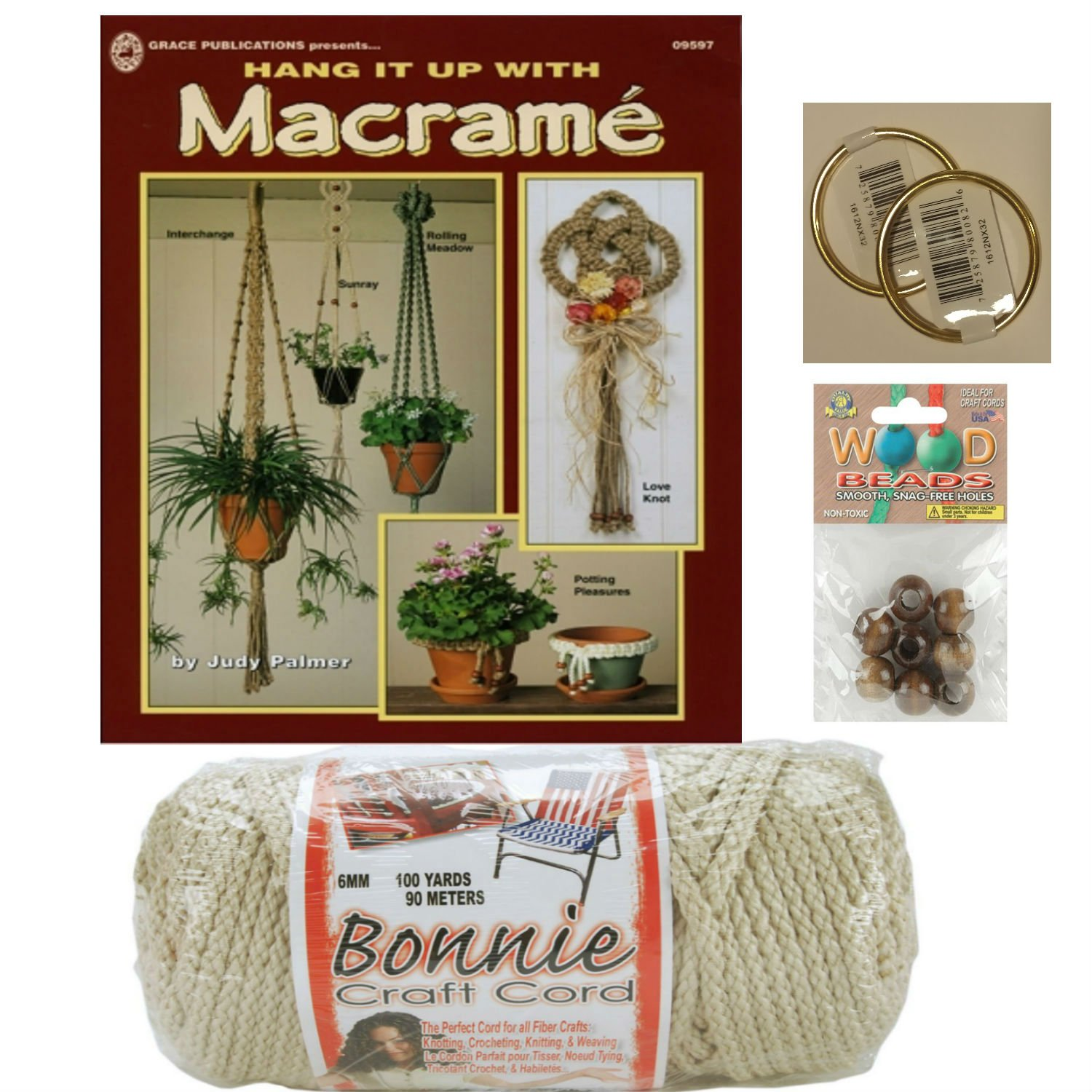 Macrame kit bundle with Craft Cord, Wooden Beads, Rings, and Project Book for plant hangers and wall hangings (pottery)