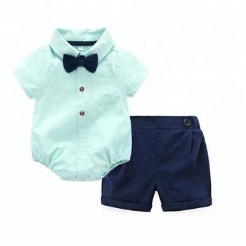 Hot Sale boutique baby clothes 100% cotton gentleman romper + pants newborn  baby boy clothing cdf2c59cf02e