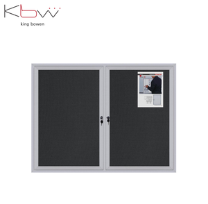 Lockable Notice board with glass door Aluminum frame for office