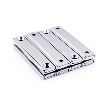 Strong Neodymium Rectangular Pot Magnets with Counter Bore, Countersunk Hole Magnets with Mounting Screws - 60x13.5x5mm