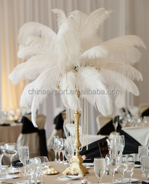 100pcs White Plume Ostrich Feather For Wedding Centerpieces