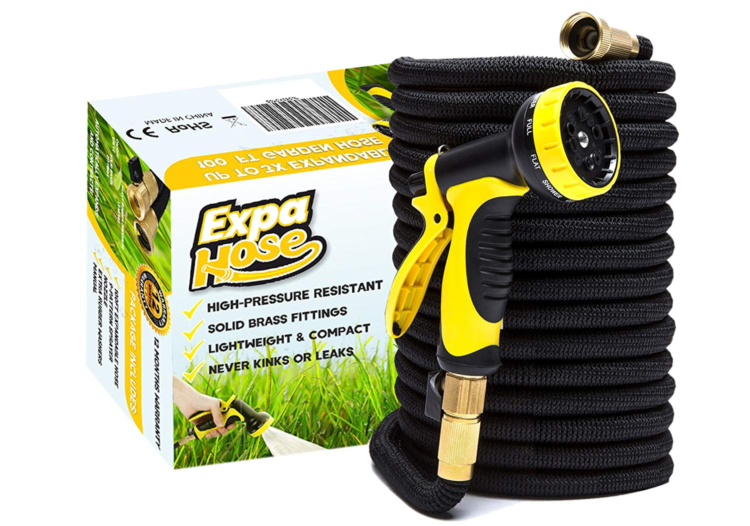 ExpaHose 100ft Expandable Garden Hose with 9-Pattern Sprayer Nozzle | Gardening and Outdoor Lawn Care Tools | Lightweight, Flexible, Kink-Free | 3/4 Brass Fittings | Leakproof Latex Core | Warranty
