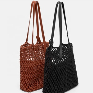 2019 summer hot woven crochet beach bag tote with inner bag with low moq
