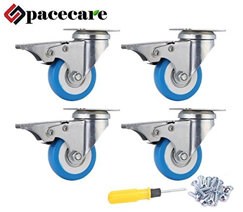 """SPACECARE 4 Pack of 2"""" Swivel Caster Blue Polyurethane Wheels Base with Brake Top Plate Double Ball"""