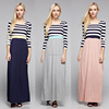 Women Fashion Going Down Striped Long Sleeve Maxi Dress black white striped Top Solid Skirt Dress with Lace Details