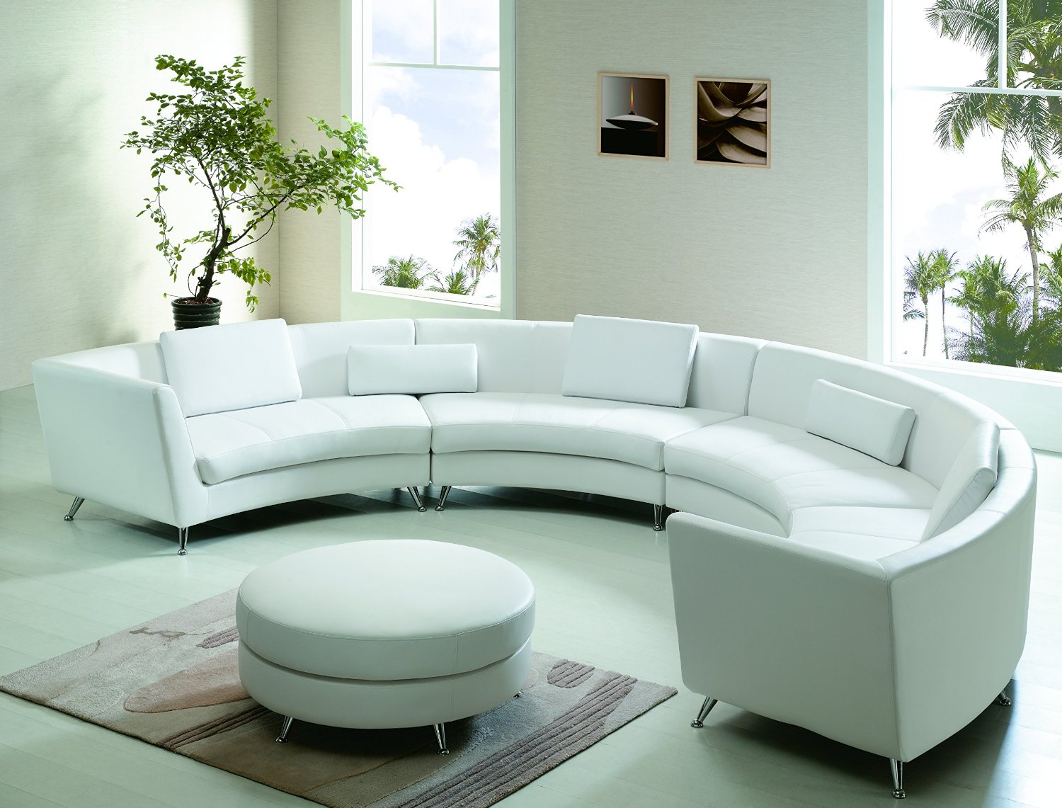 Get quotations · modern line furniture 8004w g7 contemporary leather curved open chaise sectional sofa with ottoman