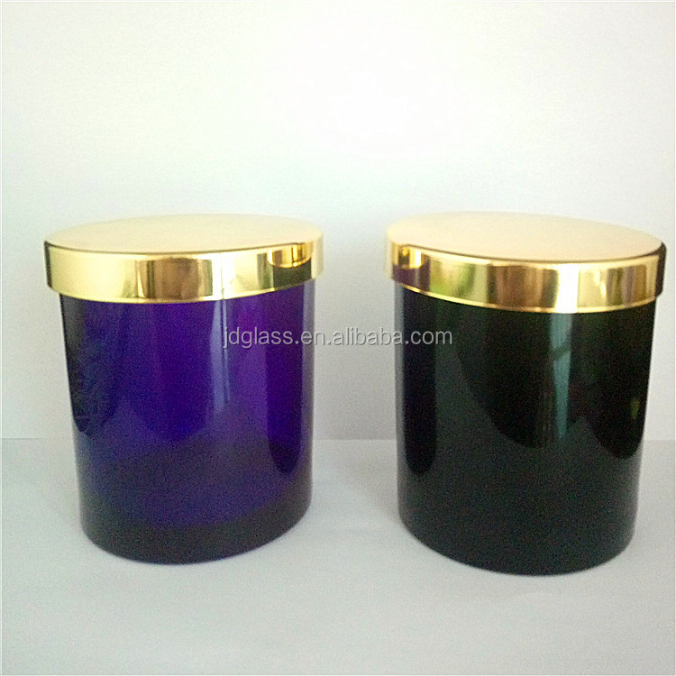 colored Christmas glass candle holder with gold lid
