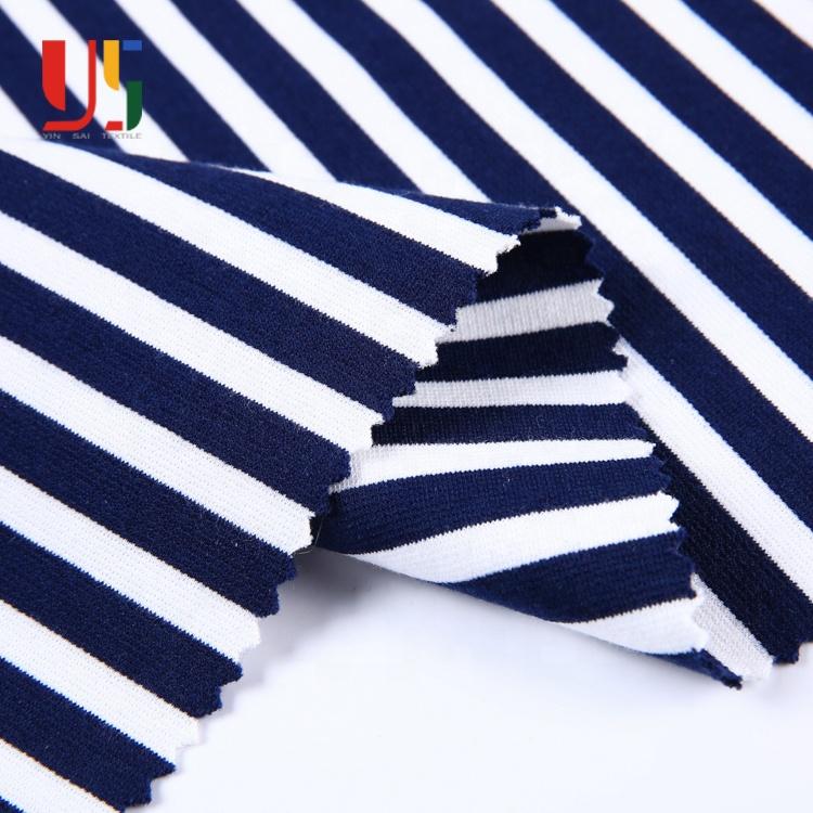 โพลีเอสเตอร์เรยอนแปนเด็กซ์ยืดผ้า ponte roma แถบสีฟ้าและสีขาวผ้ายืด