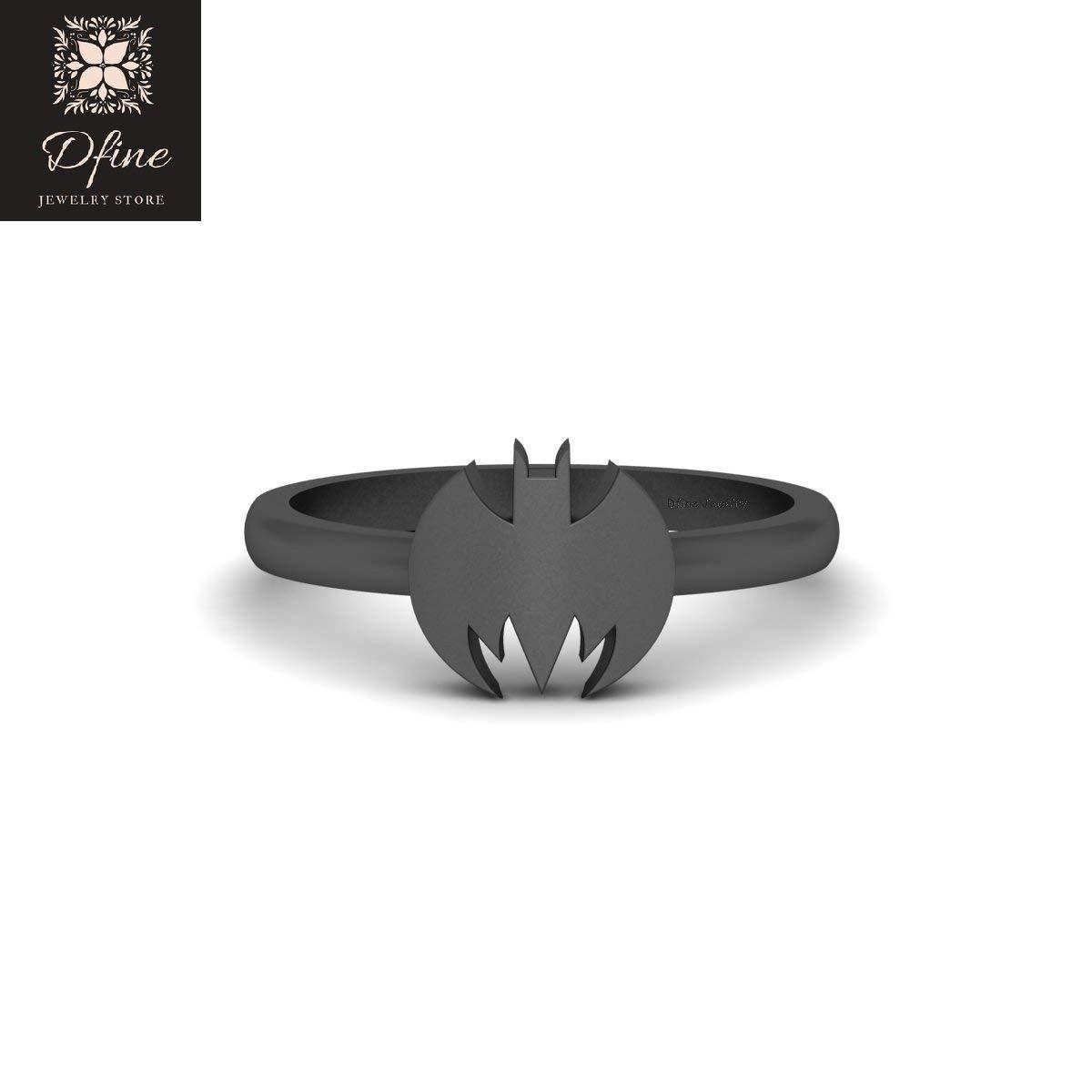 Superhero Wedding Ring Holy Smokes Fantasy Batman Theme Womens Ring Solid 14k Gold