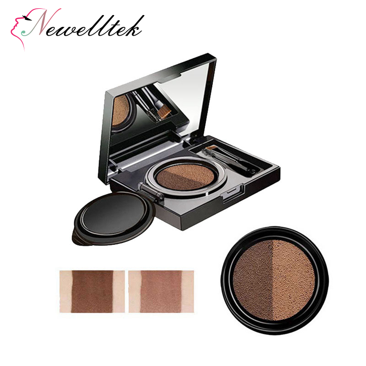 new fashion 2 color air cushion eyebrow with 2 brush mirror eyebrow cream with black case waterproof makeup cushion eyebrow